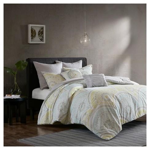 Yellow Leyla 100% Cotton Printed 7pcs Comforter Set - image 1 of 4