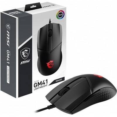 MSI Clutch GM41 USB Gaming Mouse - Optical Sensor - USB 2.0 Connectivity - 16000 DPI Movement Resolution - 60Million OMRON Switches