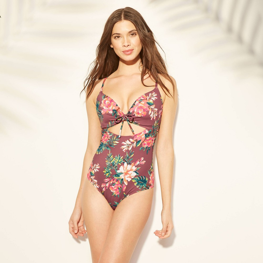 d70991fe354 Womens Current Lightly Lined Keyhole Tie Front One Piece Swimsuit Shade  Shore Burgundy Floral 38D Red