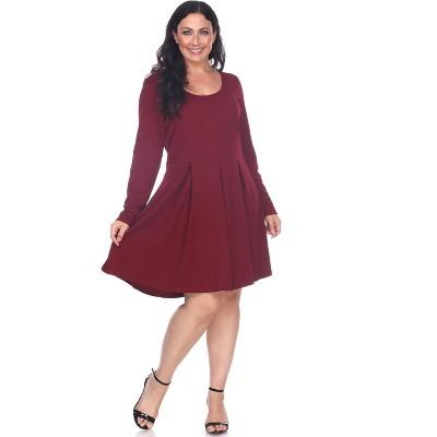 Women's Plus Size Long Sleeve Fit & Flare Jenara Dress - White Mark