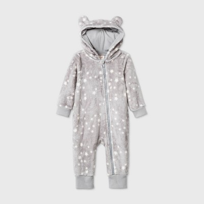 Baby Bear Cozy Romper - Cat & Jack™ Gray Newborn