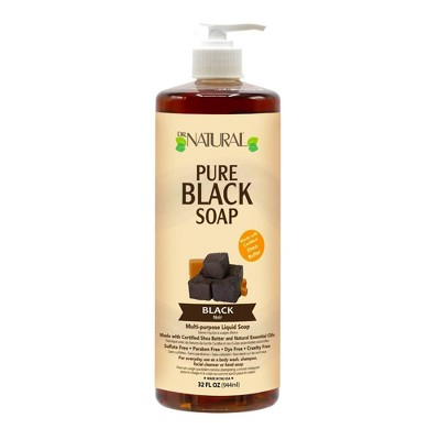 Dr. Natural Pure Black Soap All Natural with Organic Shea Butter - Black - 32 fl oz