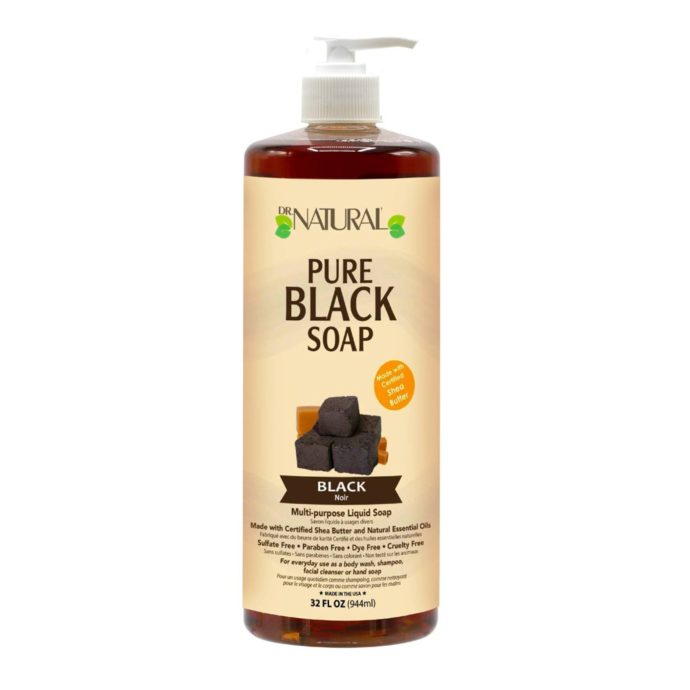Dr Natural Pure Black Soap All Natural With Organic Shea Butter Black 32 fl oz