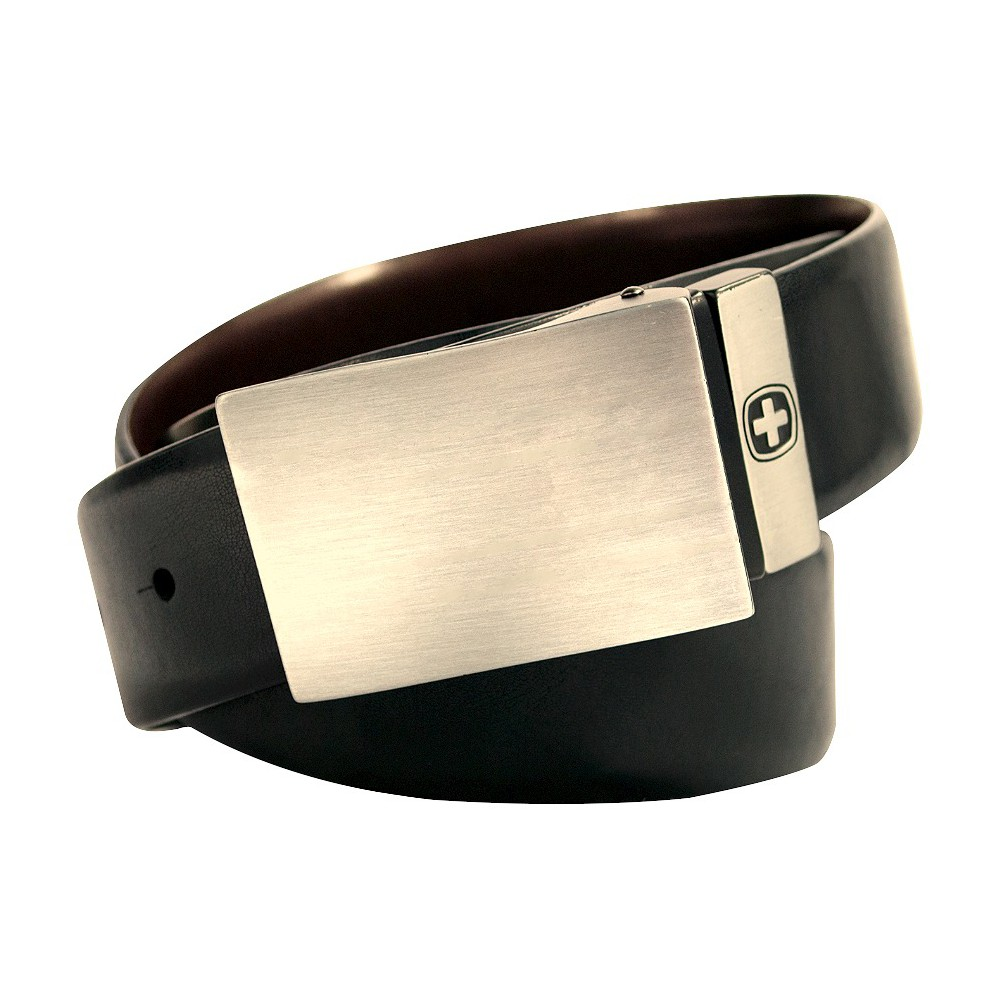 Swiss Gear Men's Genuine Leather Reversible Belt with Plaque Buckle, Size: XL, Deep Charcoal