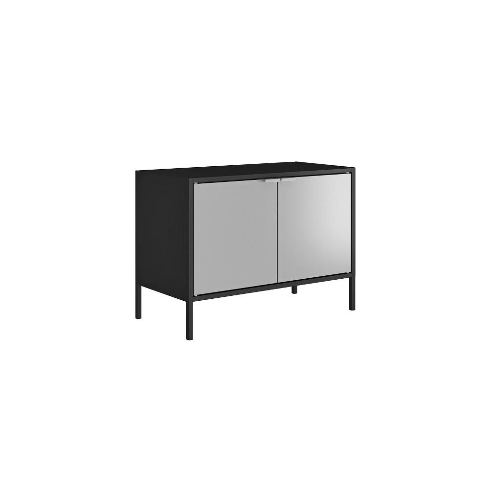 25 Smart Low Wide TV Stand Cabinet Black/Gray - Manhattan Comfort