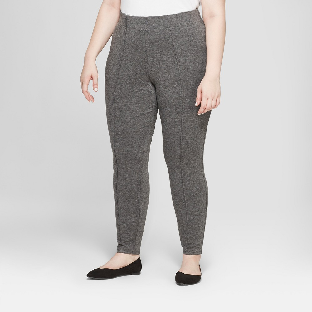 Women's Plus Size Pull-On Ponte Pants with Comfort Waistband - Ava & Viv Heather Gray 4X
