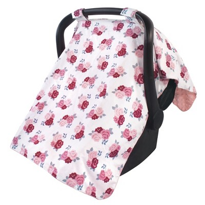 Hudson Baby Infant Girl Reversible Car Seat and Stroller Canopy, Blush Floral, One Size