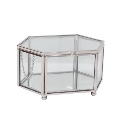 Hexagon Glass Jewelry Box Glass/ Polished Nickel - 88 Main®