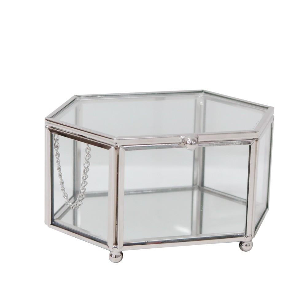 Hexagon Glass Jewelry Box Glass/ Polished Nickel (Glass/Polished Nickel) - 88 Main