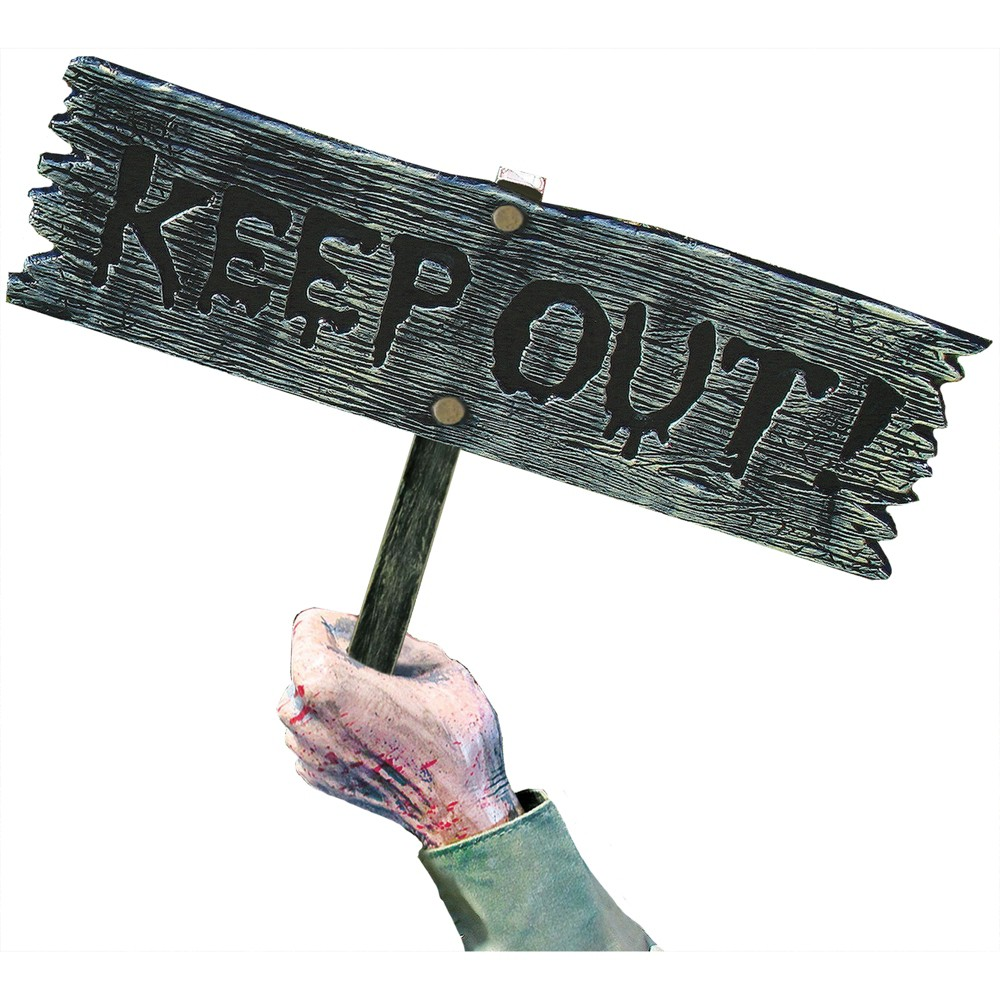 18 Halloween Keep Out Warning Ground Stake Sign, Multi-Colored
