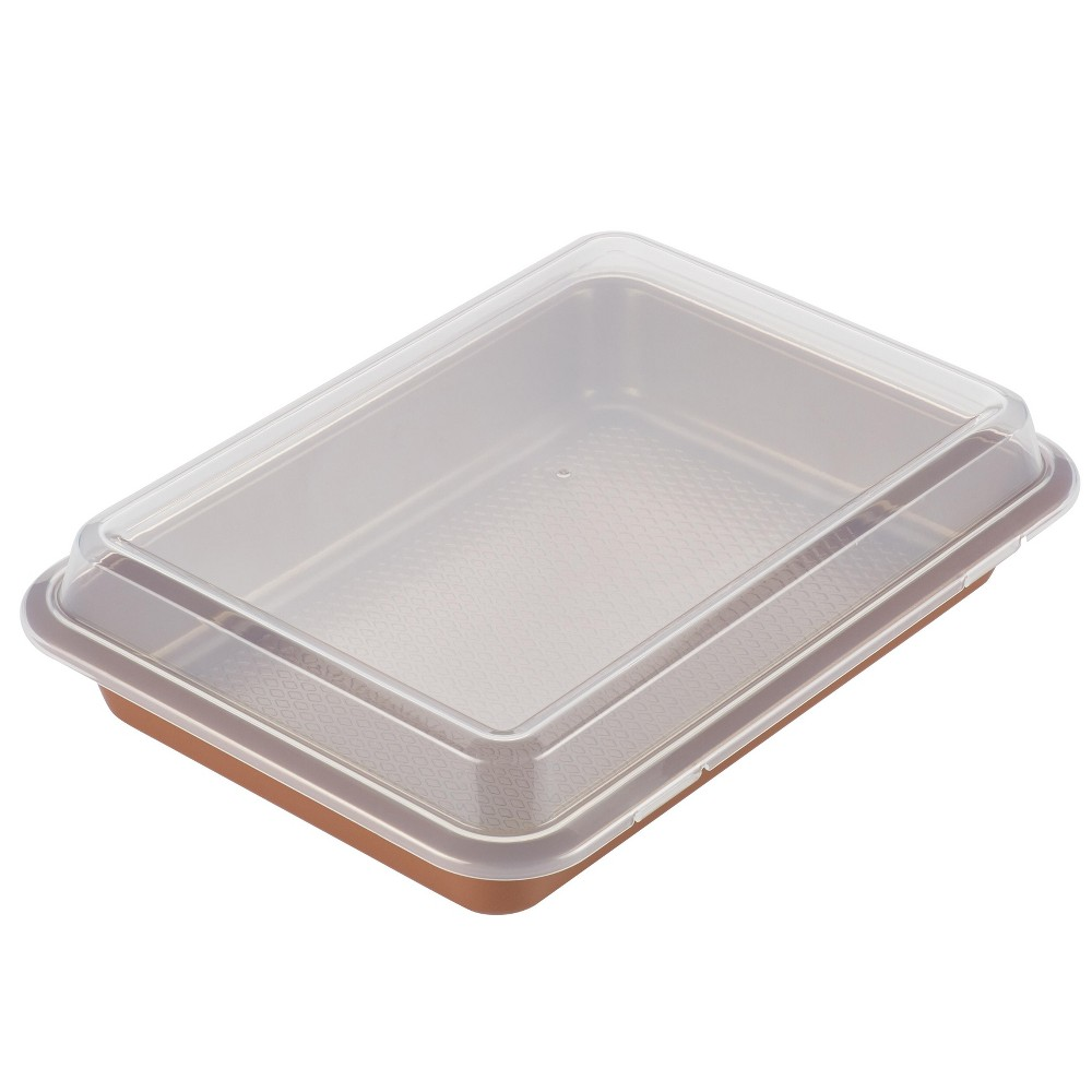"""Image of """"Ayesha Curry 9"""""""" x 13"""""""" Bakeware Covered Cake Pan Copper, Brown"""""""