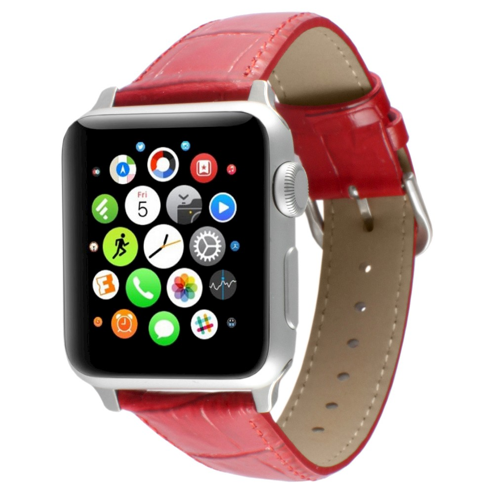 Apple Watch Replacement Leather Band 38mm with Steel Adapter - Red