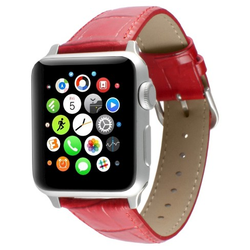 Apple Watch Replacement Leather Band 38mm with Steel Adapter - Red - image 1 of 3