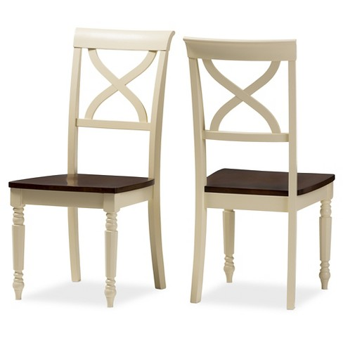 Ashton Modern Country Cottage Buttermilk & Walnut Brown Finishing Wood Dining Chairs (Set of 2) - Baxton Studio - image 1 of 5