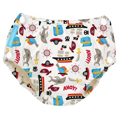 Charlie Banana Reusable Easy Snaps Swim Diaper Black, Pirate, M