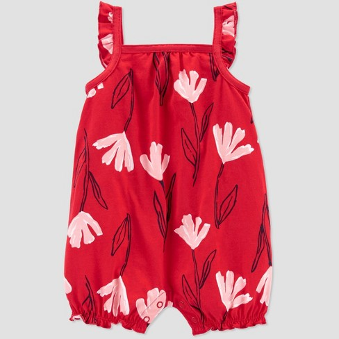 Baby Girls' Floral Romper - Just One You® made by carter's Pink/Red - image 1 of 2
