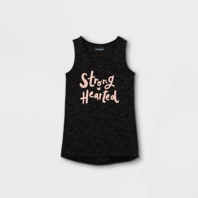 Girls' 'Strong Hearted' Graphic Tank Top - Cat & Jack™ Charcoal Black