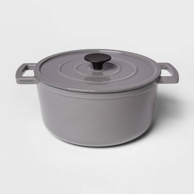 5qt Cast Iron Round Dutch Oven Gray - Threshold™