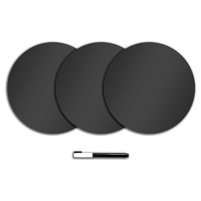 "Wall Pops!  Dry Erase Board Circle Decals 13"" 3ct - Charcoal Chalk Board"