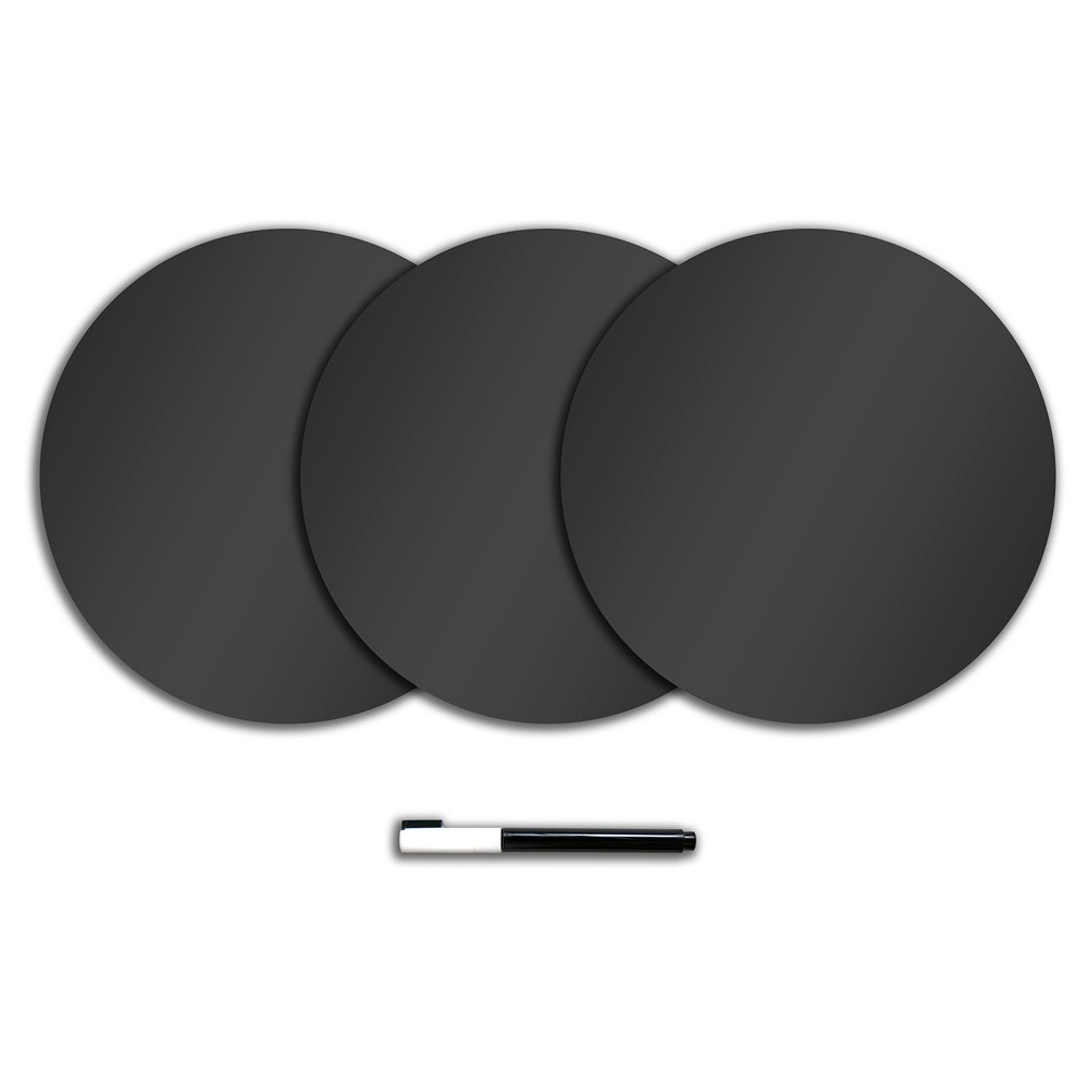 "Image of ""Wall Pops! Dry Erase Board Circle Decals 13"""" 3ct - Charcoal Chalk Board"""