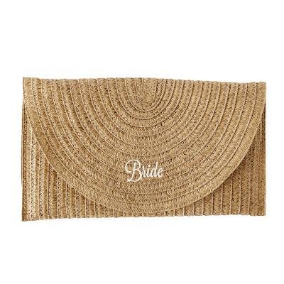 Bride Straw Envelope Clutch Brown