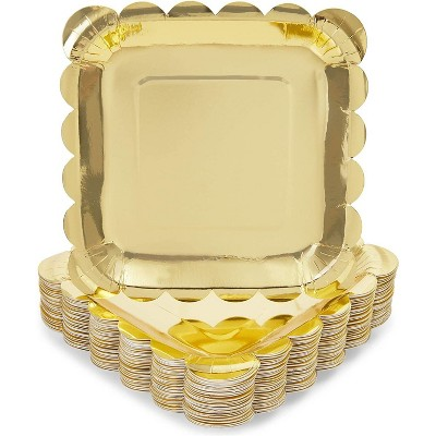 Sparkle and Bash 48 Pack Gold Foil Square Disposable Paper Plates Scalloped Edge, 7 In