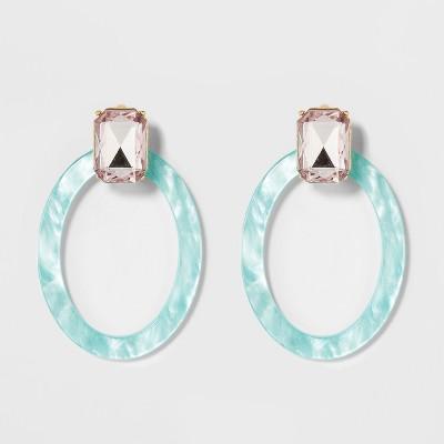 SUGARFIX by BaubleBar Crystal Studs Resin Hoop Earrings
