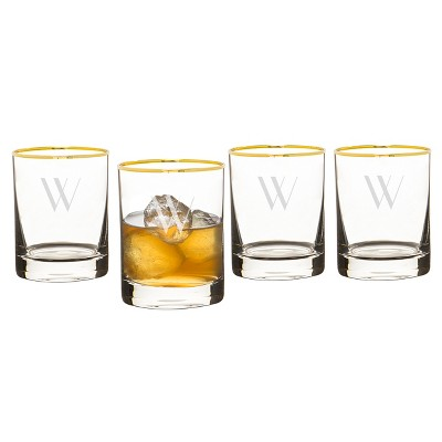 Cathy's Concepts Monogrammed Gold Rim Whiskey Glasses W 11oz - Set of 4