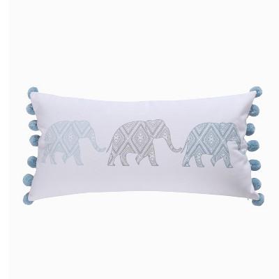 12x24 Adia Elephant Poms Pillow Gray - Homthreads