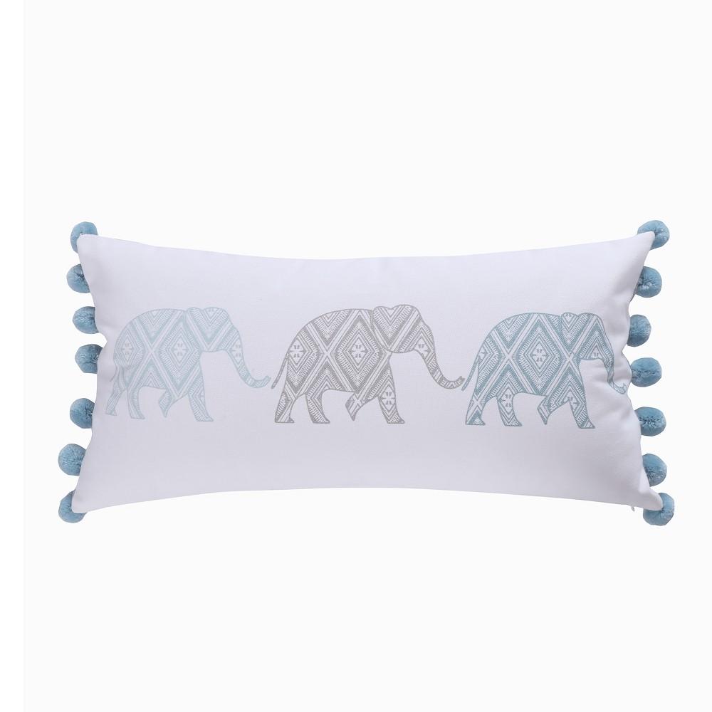 Image of 12x24 Adia Elephant Poms Pillow Gray - Homthreads