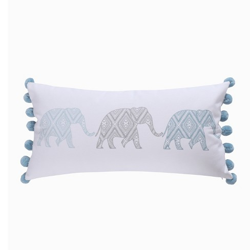 12x24 Adia Elephant Poms Pillow Gray - Homthreads - image 1 of 3