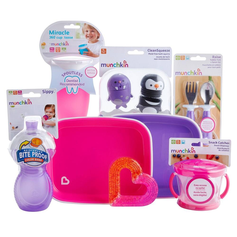Image of Munchkin 1st Birthday Baby Gift Basket - Pink