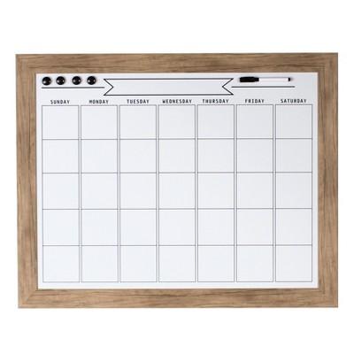 "29"" x 23"" Beatrice Framed Magnetic Dry Erase Monthly Calendar Rustic Brown - DesignOvation"