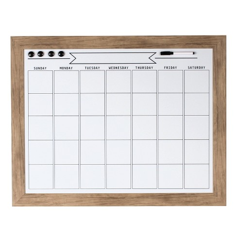 "29"" x 23"" Beatrice Framed Magnetic Dry Erase Monthly Calendar Rustic Brown - DesignOvation - image 1 of 4"