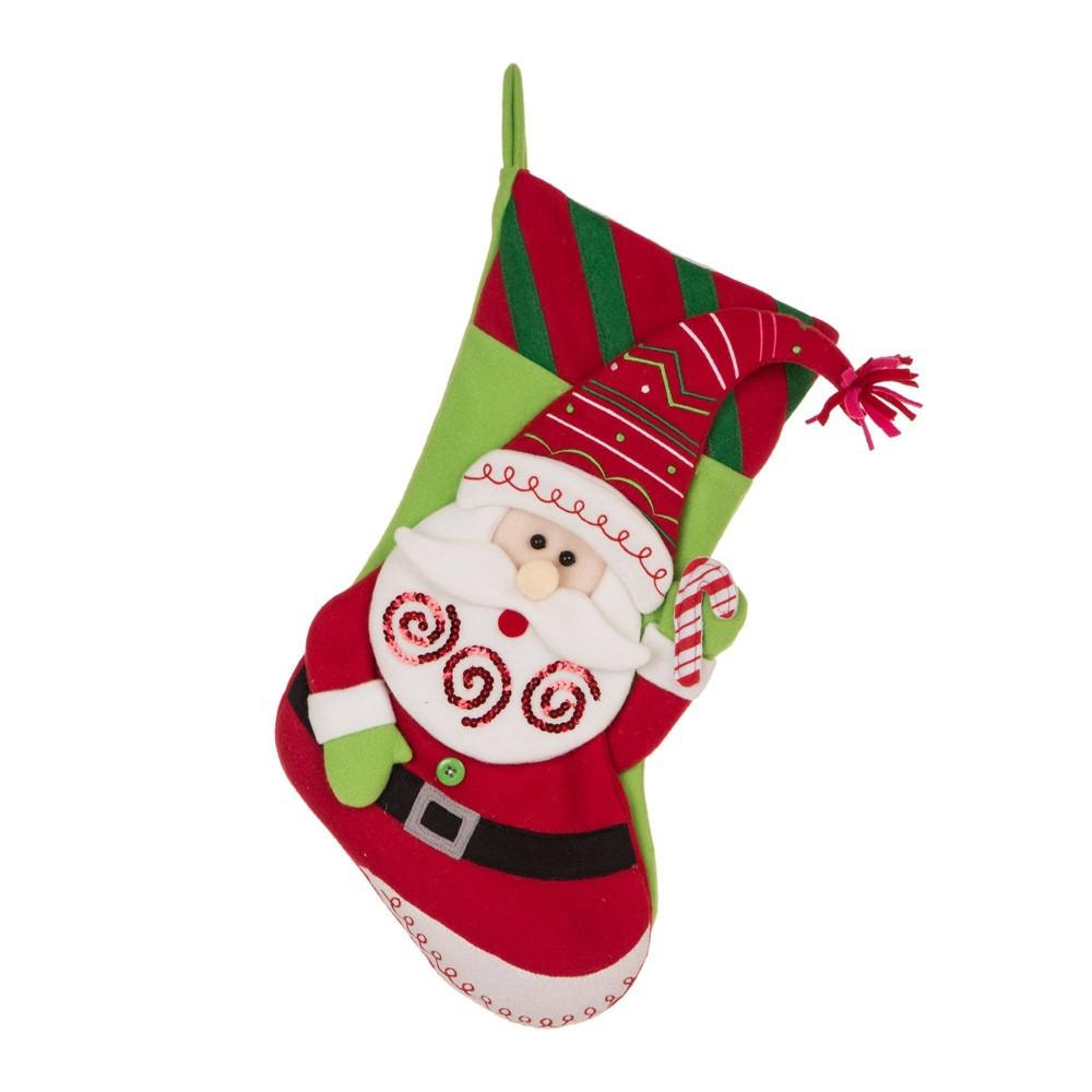Image of Santa Felt Christmas Stocking - Glitzhome