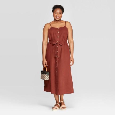 Women's Plus Size Sleeveless Square Neck Midi Button Front Dress - Ava & Viv™ Brown - image 1 of 3