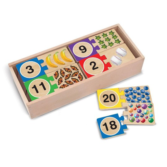 Melissa & Doug Self-Correcting Wooden Number Puzzles With Storage Box 40pc image number null