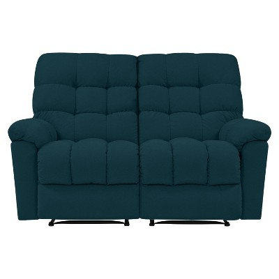 Alma 2 Seat Tufted Wall Hugger Recliner Loveseat Plush Low Pile Velour Peacock Blue - ProLounger