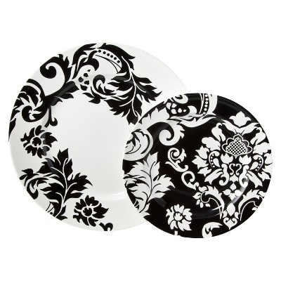 Damask Stoneware 16pc Dinnerware Set Black/White - Coventry™