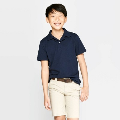 Boys' Uniform Short Sleeve Jersey Polo Shirt - Cat & Jack™ Navy