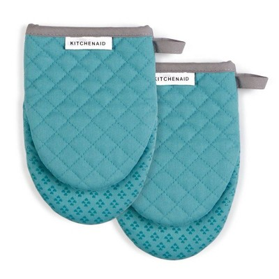 KitchenAid 2pk Cotton Asteroid Mini Oven Mitts Light Teal