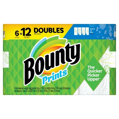 Bounty Select-A-Size Printed Paper Towels - 6 Double Rolls