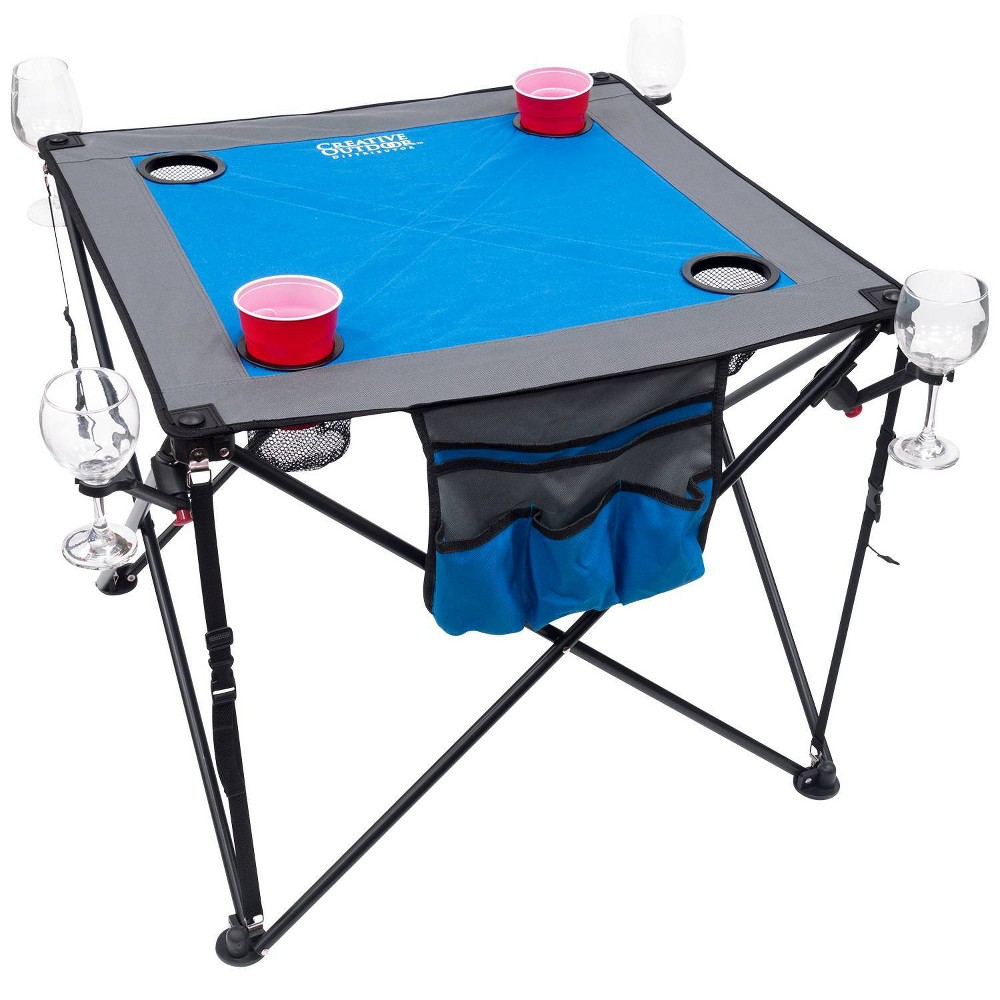 Image of Creative Outdoor Distributor Folding Wine Table - Blue