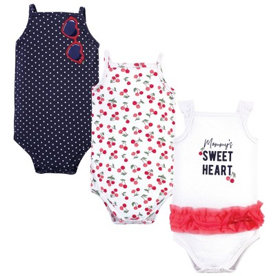 Little Treasure Baby Girl Cotton Bodysuits 3pk, Cherries