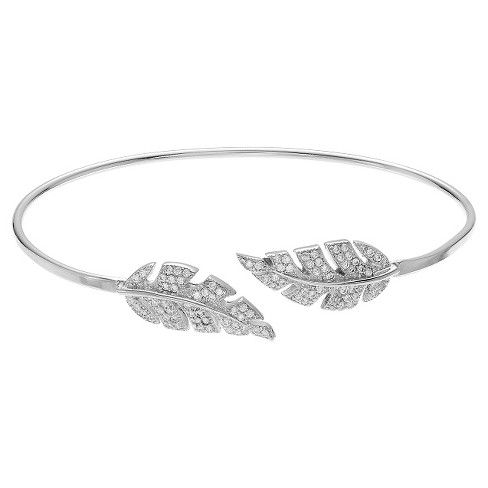 7/8 CT. T.W. Round-cut CZ Leaf Cuff Pave Set Bracelet in Sterling Silver - Silver - image 1 of 1