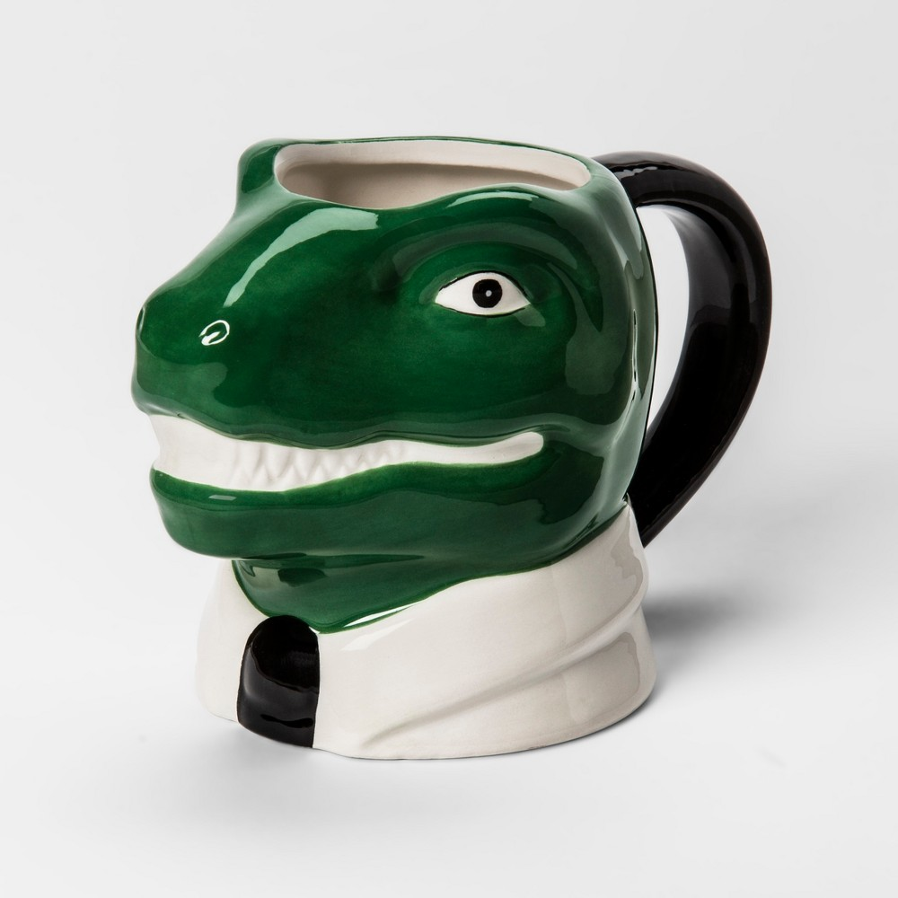 Image of 10.3oz Earthenware Dino Mug Green/White - Room Essentials