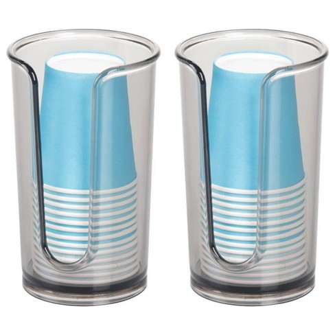 Mdesign Plastic Small Disposable Paper, Wall Mounted Bathroom Cup Dispenser