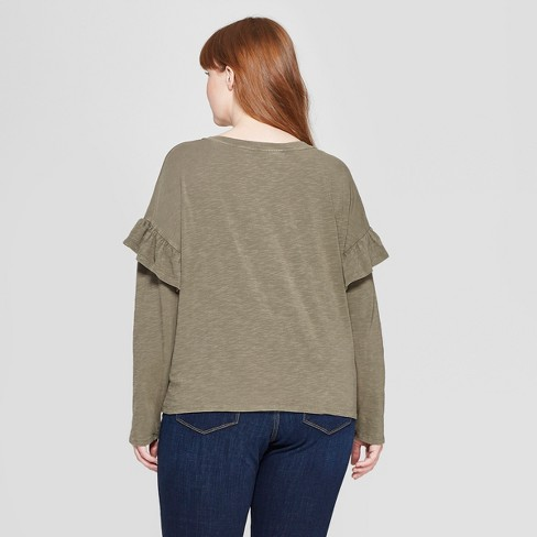 3150275ff91 Women s Plus Size Long Sleeve Ruffle T-Shirt - Universal Thread™ Olive 3X    Target