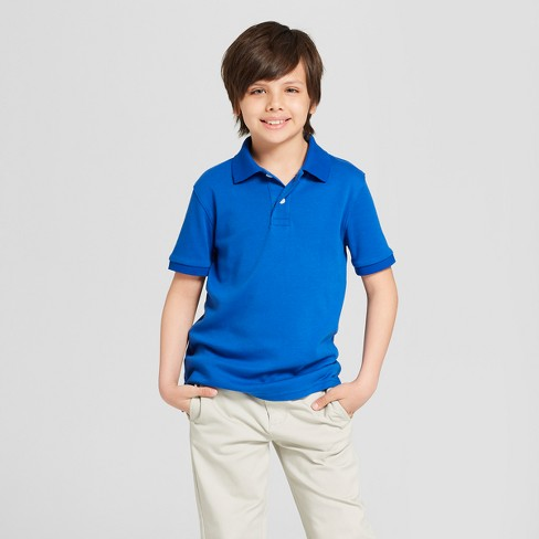 Boys' Short Sleeve Interlock Uniform Polo Shirt - Cat & Jack™ Blue - image 1 of 3