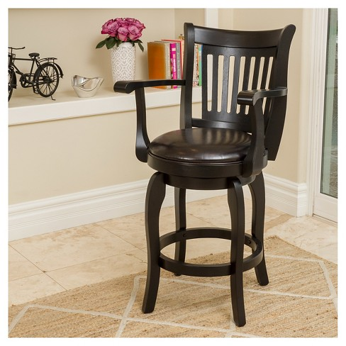 25 Prescott Bonded Leather Swivel Counter Stool With Arms